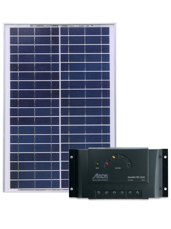 Solar Power Supply with 20W solar panel and charge regulator